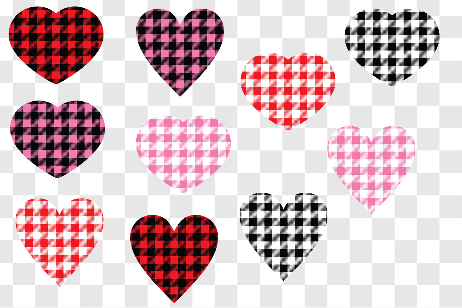 Valentine's Day Buffalo Plaid Hearts example image 2
