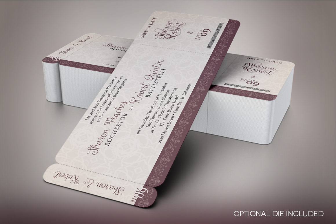 Vintage Boarding Pass Invitation Template example image 7