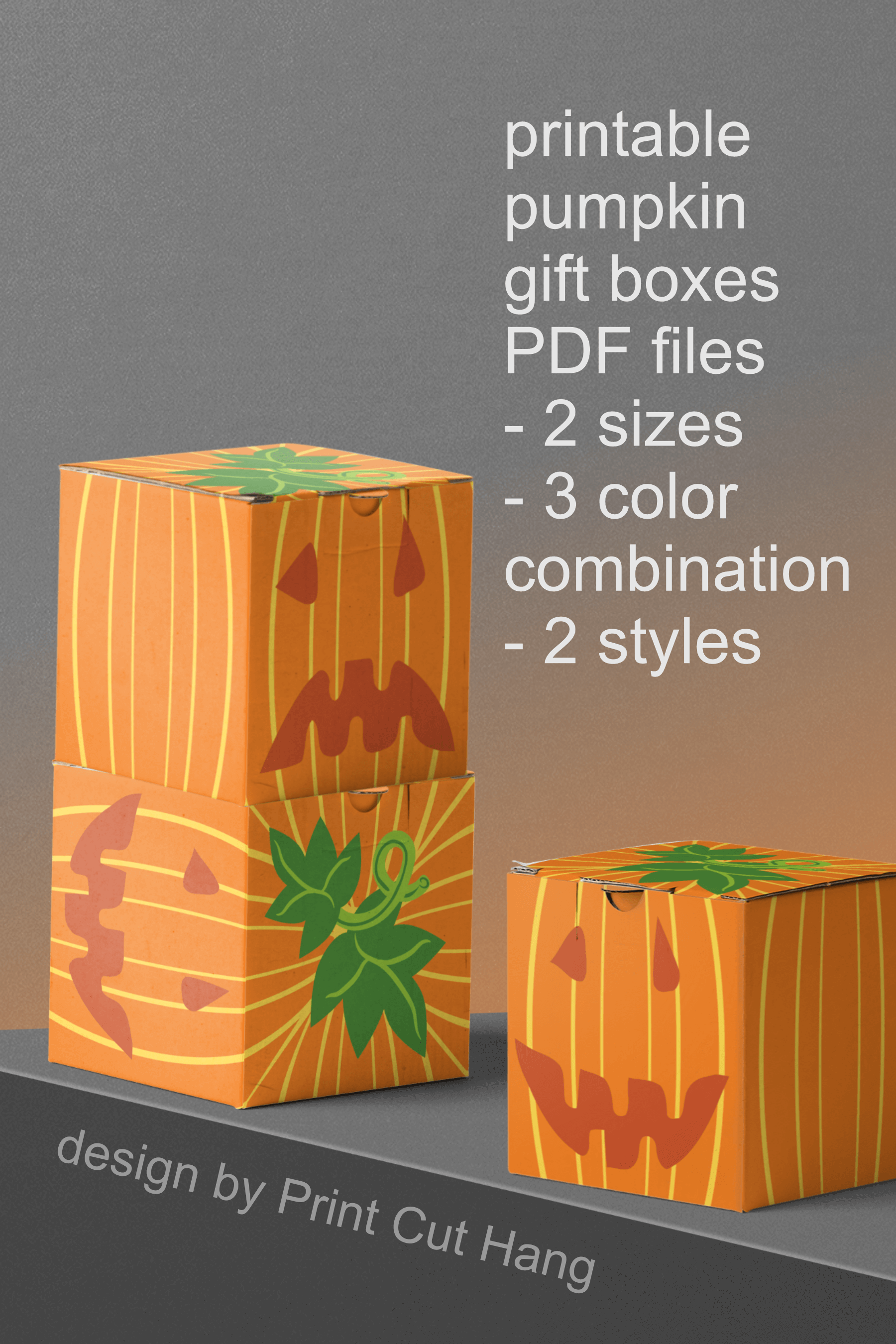 Pumpkins Treat Boxes Templates PDF files - 2 size - 2 style example image 4