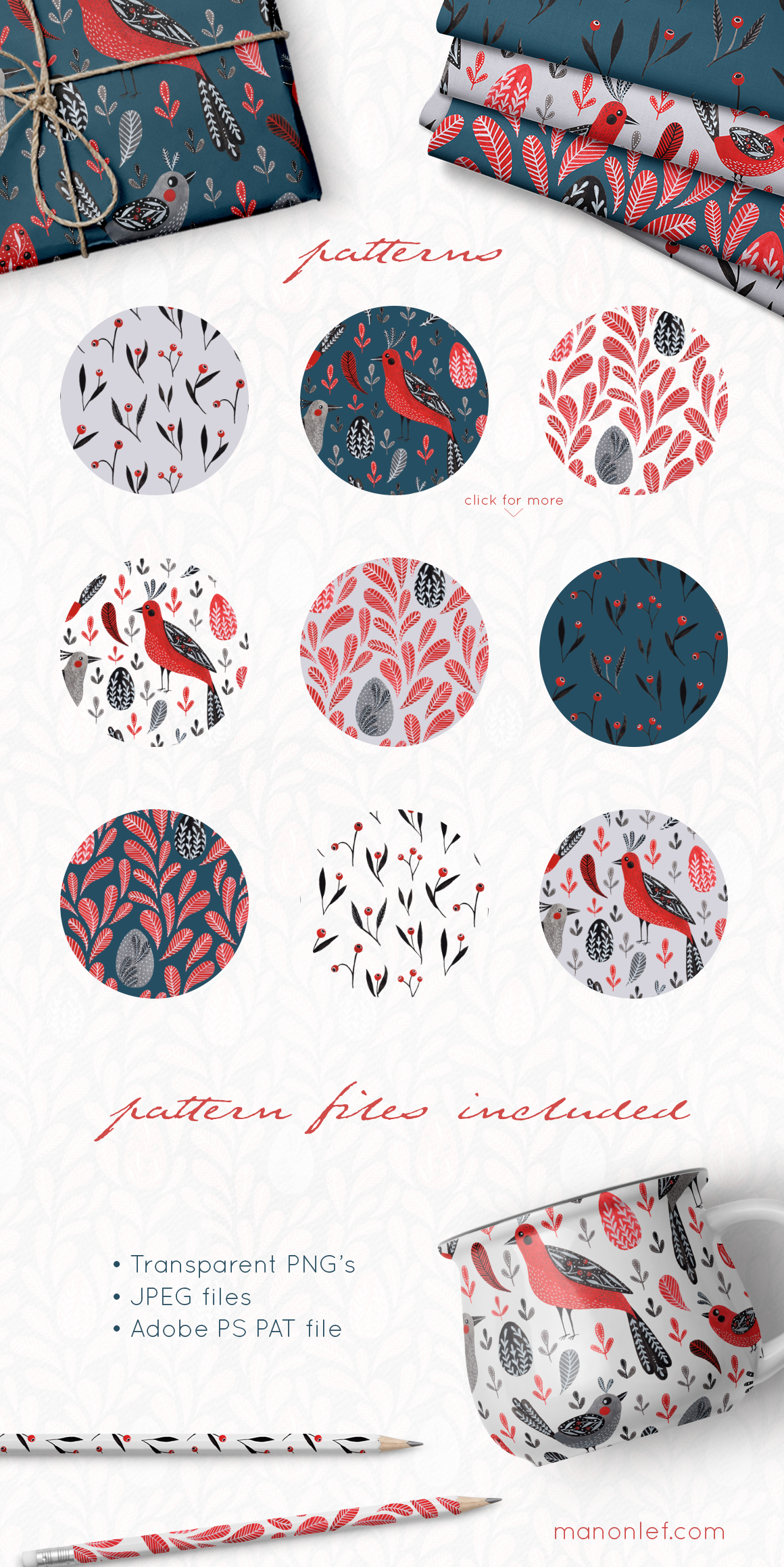 Lovebirds folk art bird illustrated collection example image 6