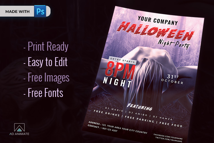 Halloween Night Party Flyer example image 2