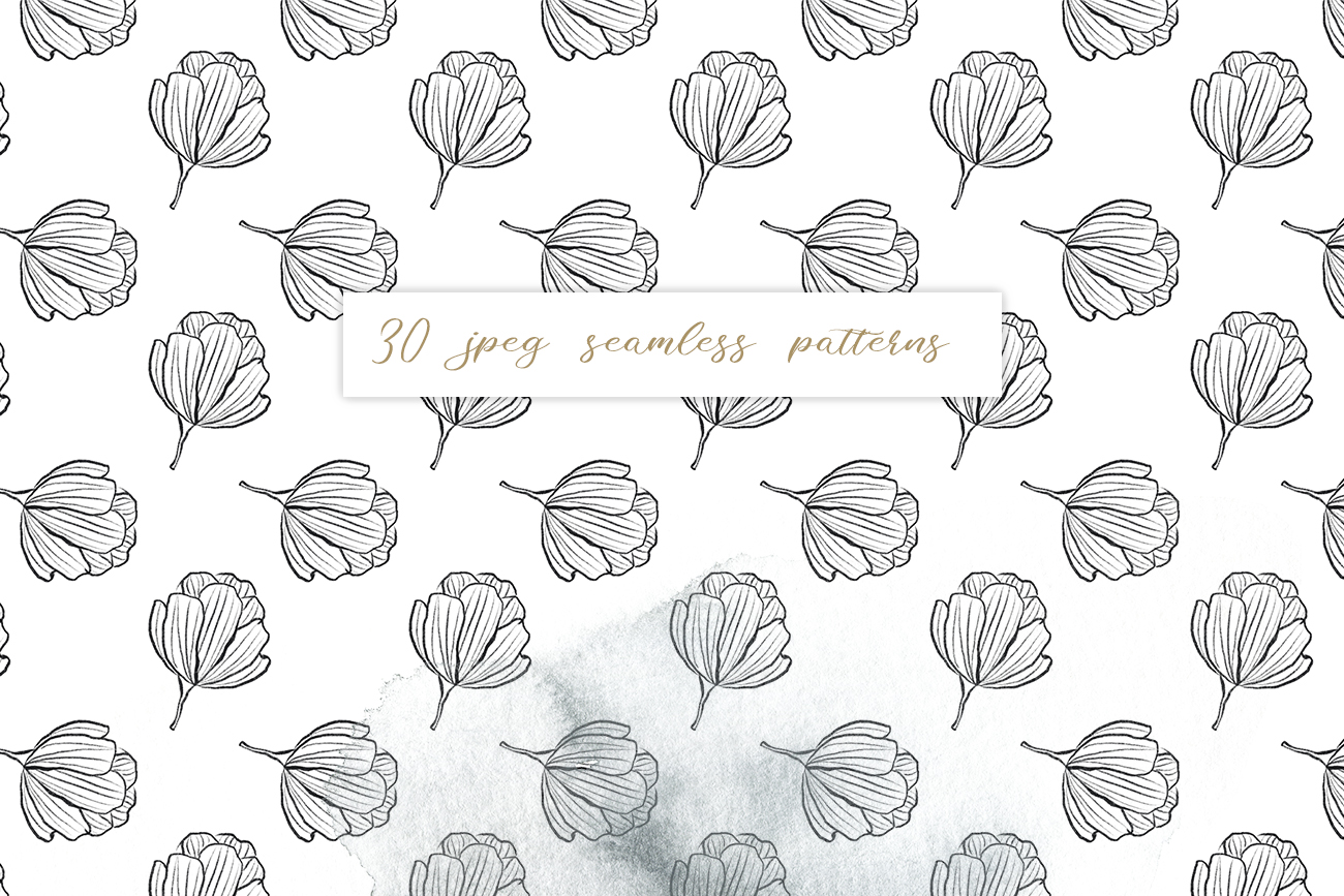Flower and leaves sketch patterns, Seamless backgrounds example image 2