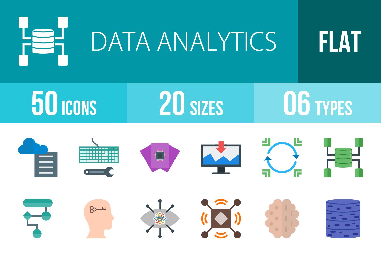 50 Data Analytics Flat Multicolor Icons example image 1