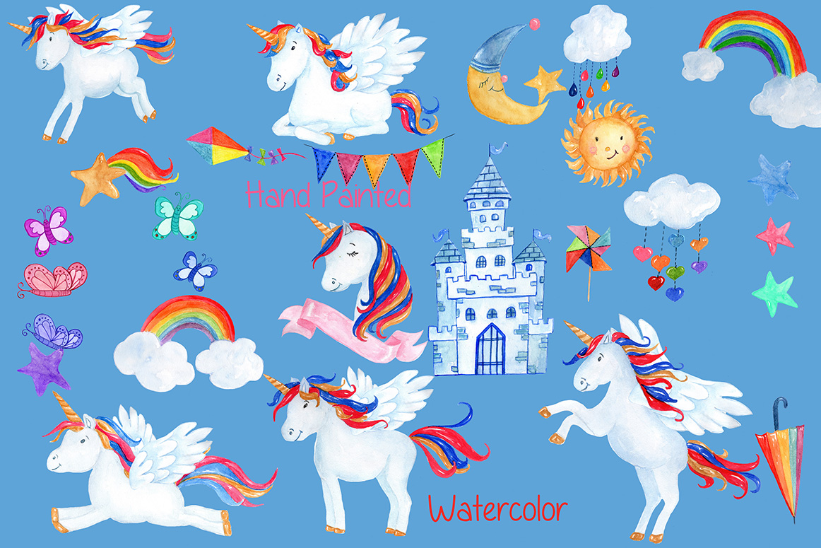 Watercolor Unicorn clipart example image 2