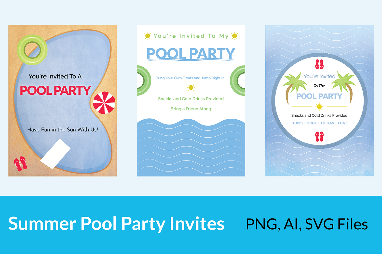Summer Pool Party Invites example image 1