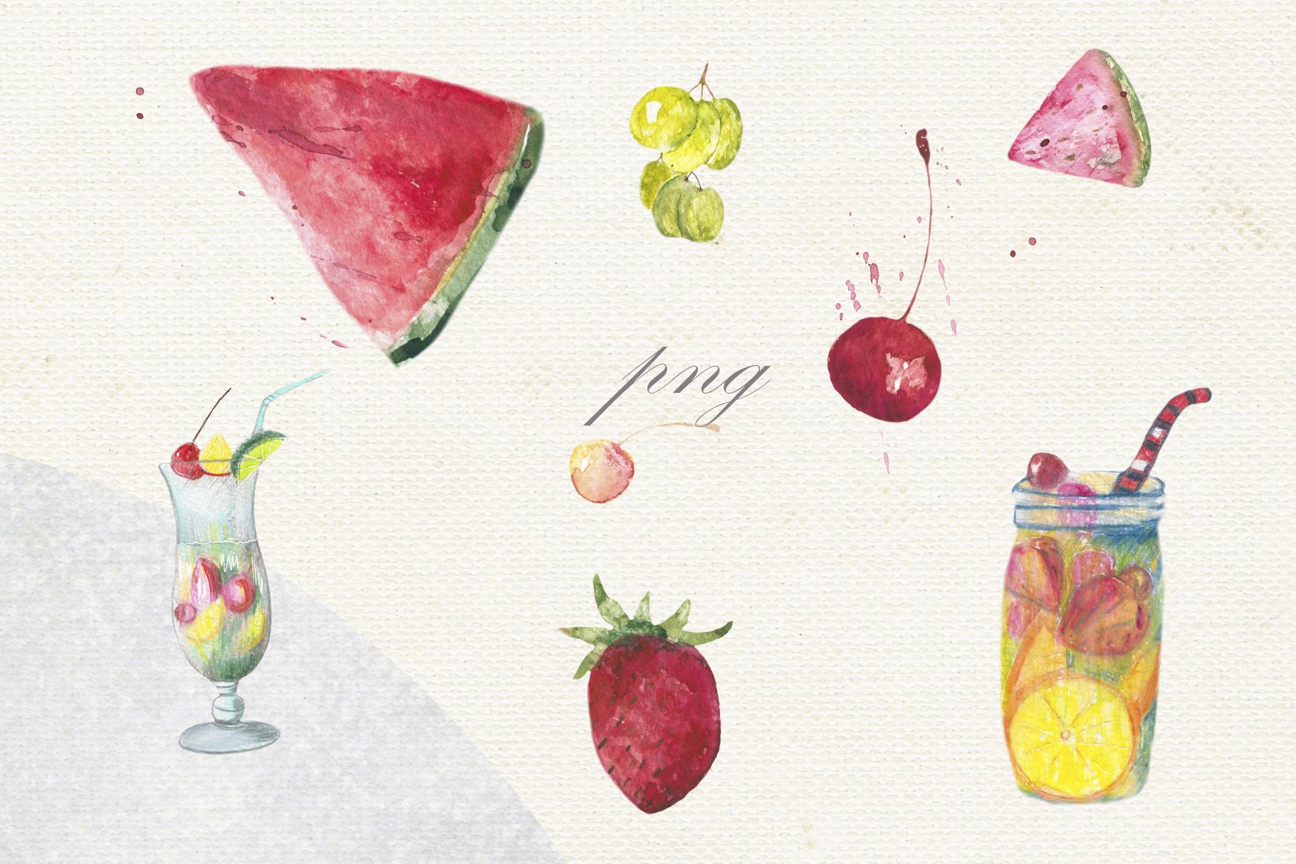 Fruit vegetables food watercolor example image 7