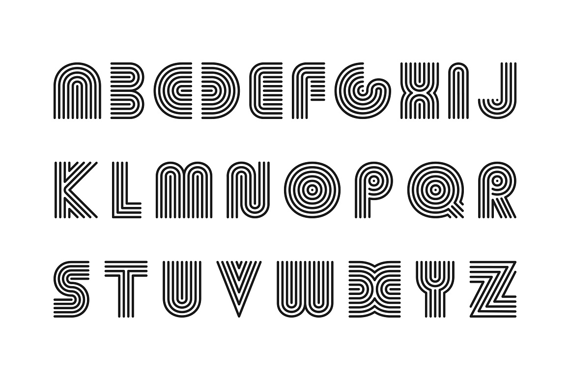 Vector striped alphabet. B&W letters example image 5