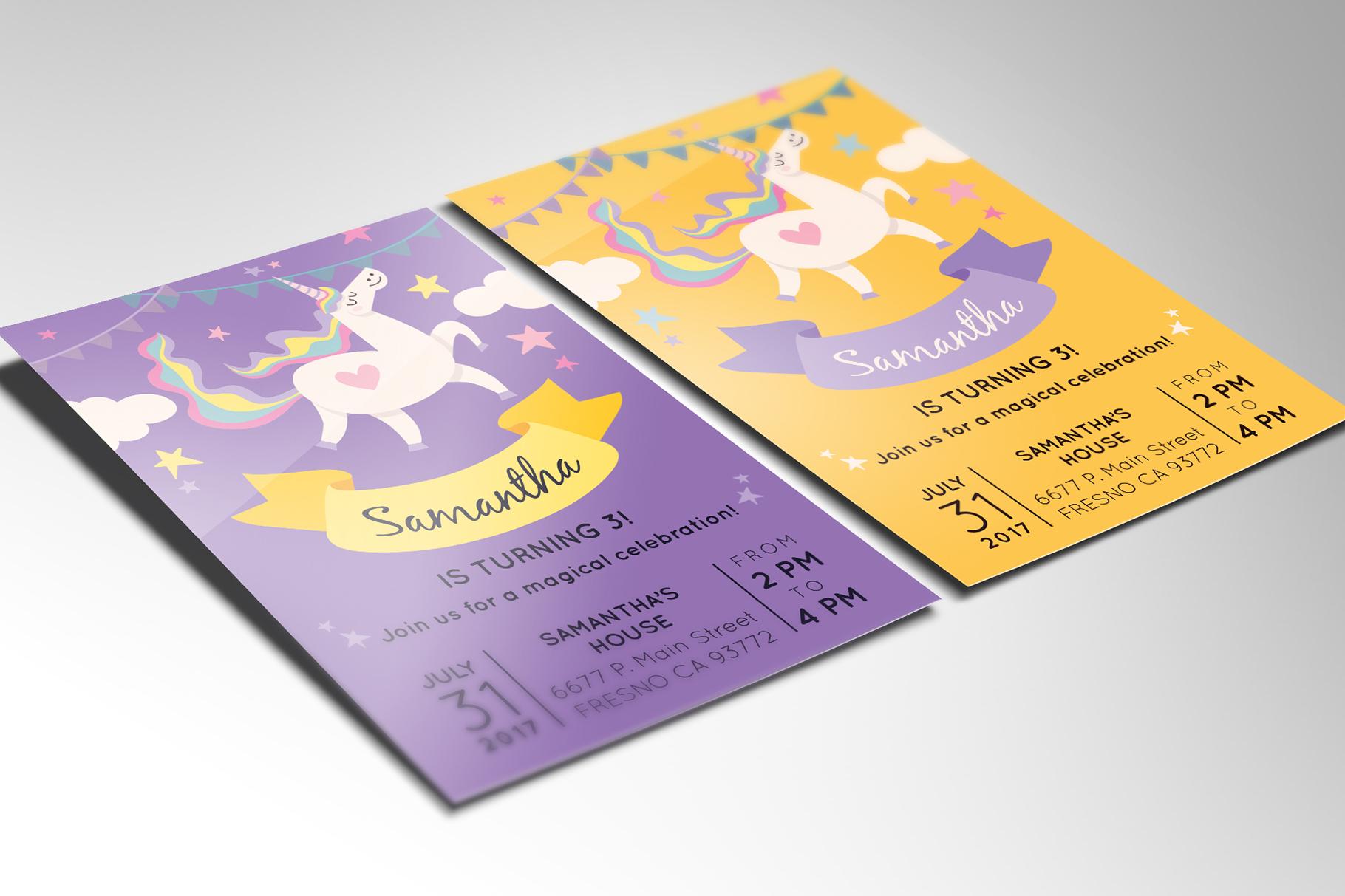 Unicorn Birthday Party Invitation example image 2