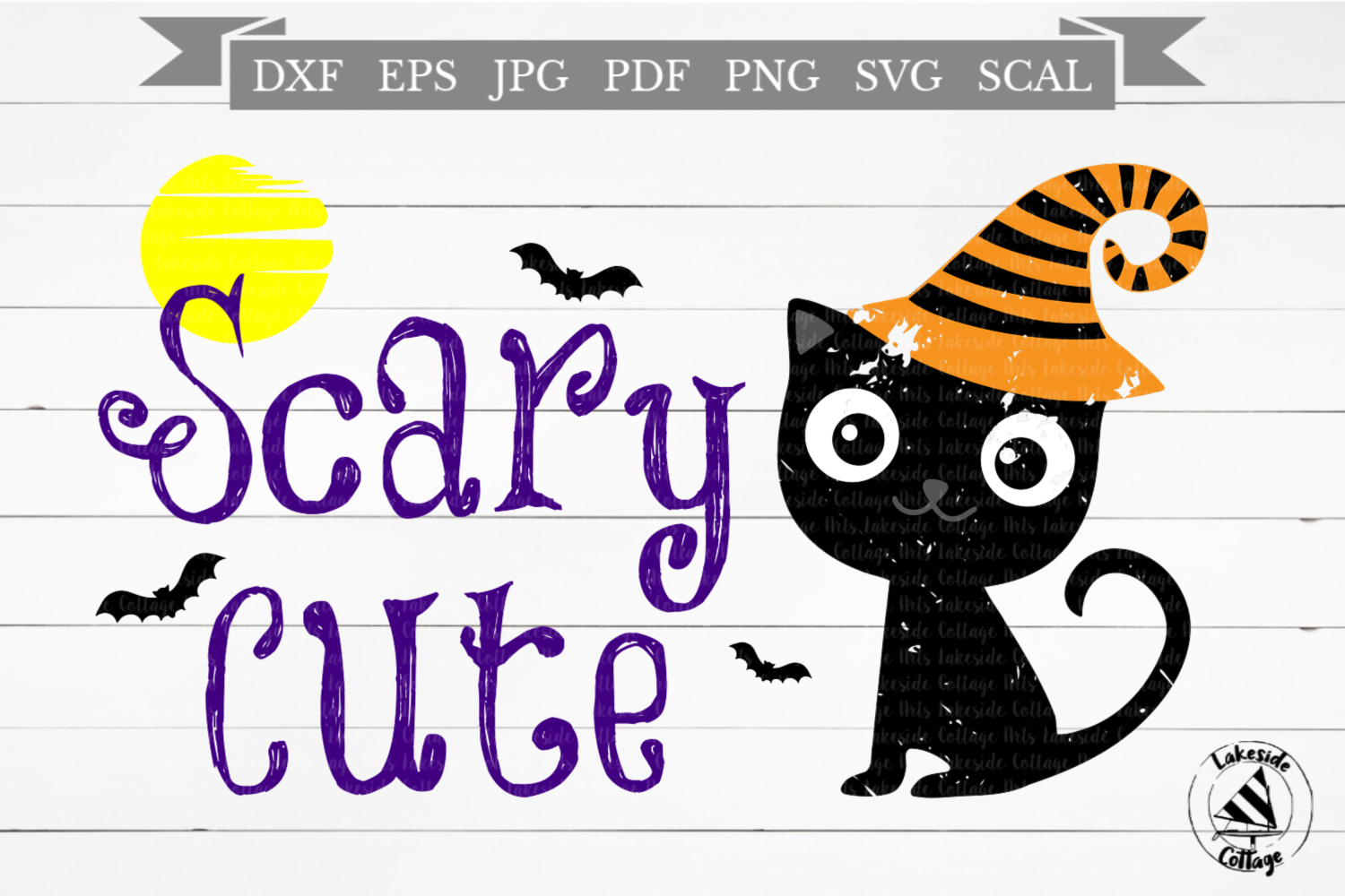 Scary Cute Cat Black Kitty Halloween SVG Design example image 1