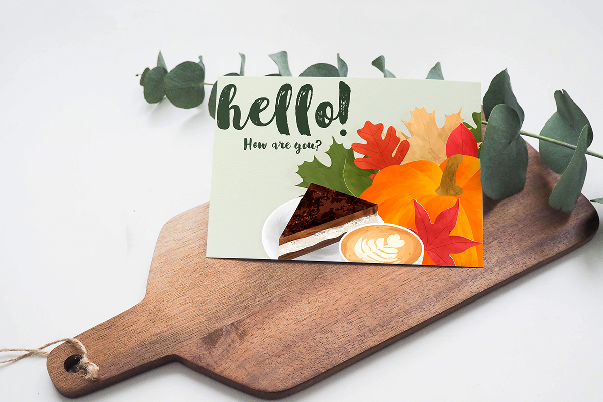 Autumn composition with pumpkin, leaves, coffee, cake example image 5