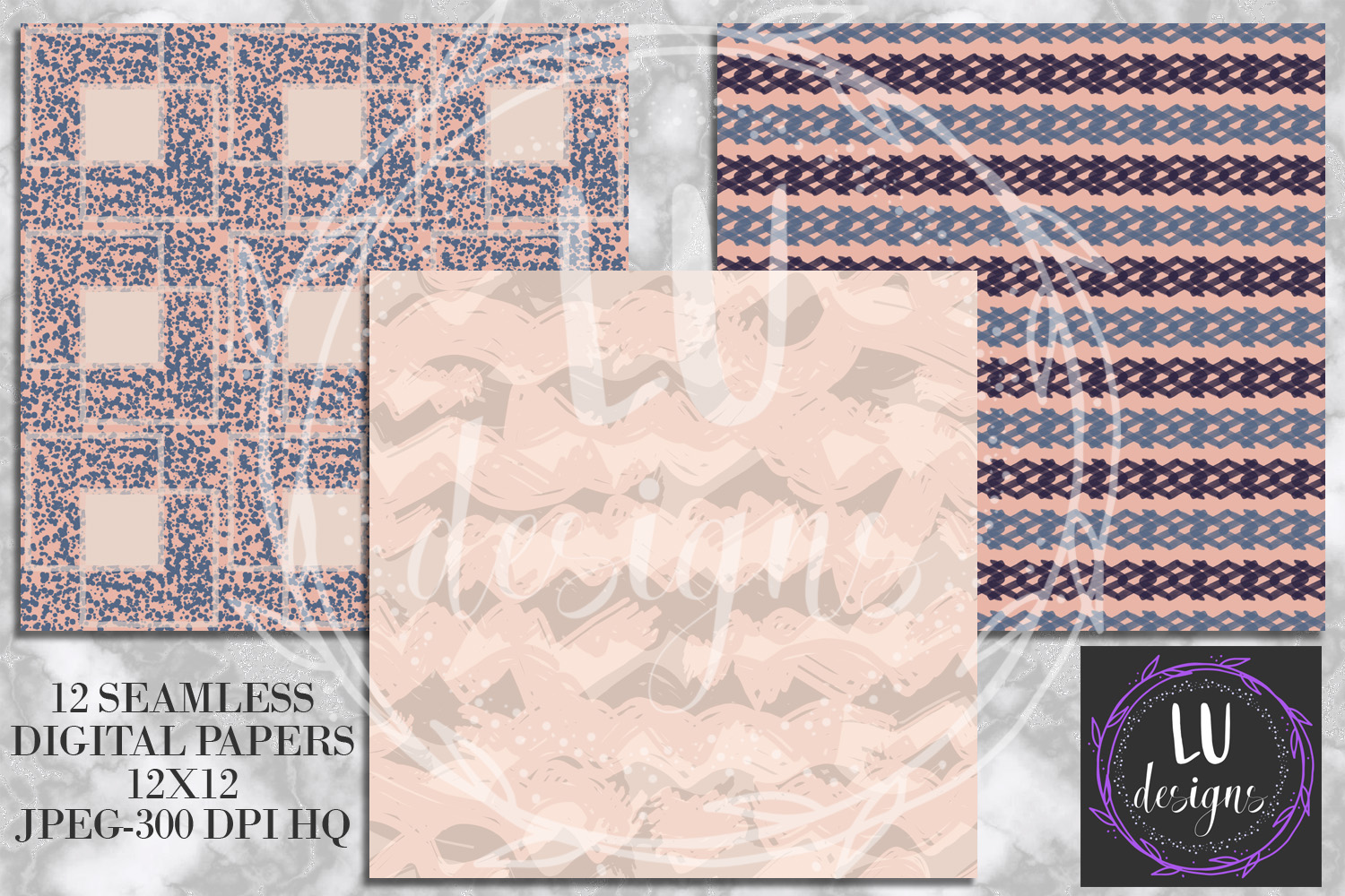 Navy and Nude Abstract Paint Digital Paper example image 4