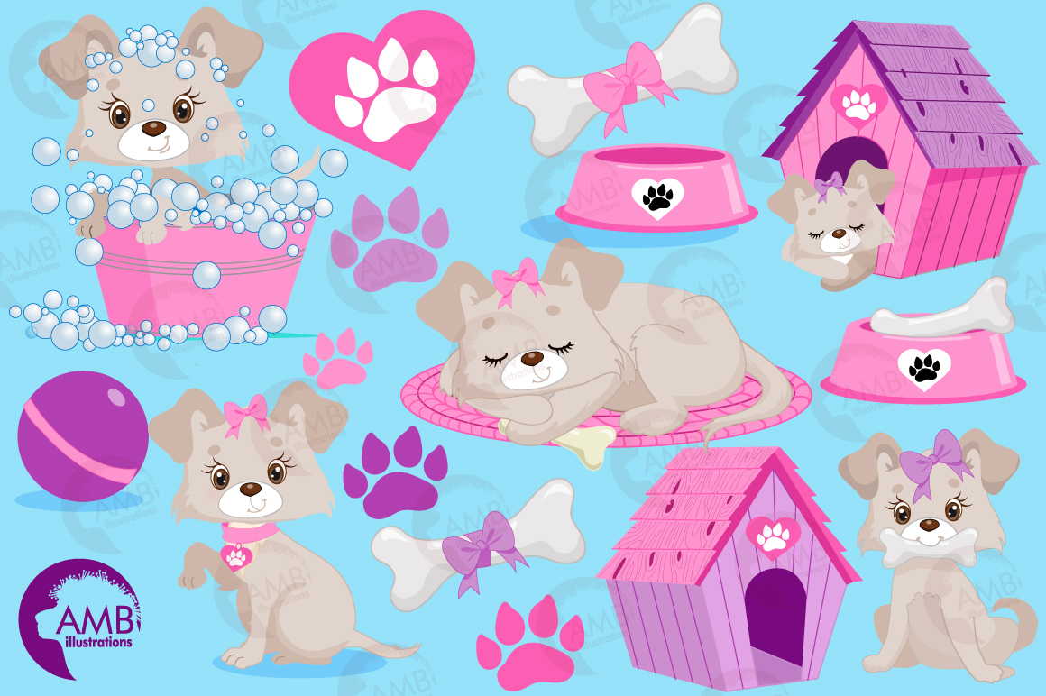 Girly dog clipart, graphics, illustrations AMB-1924 example image 5