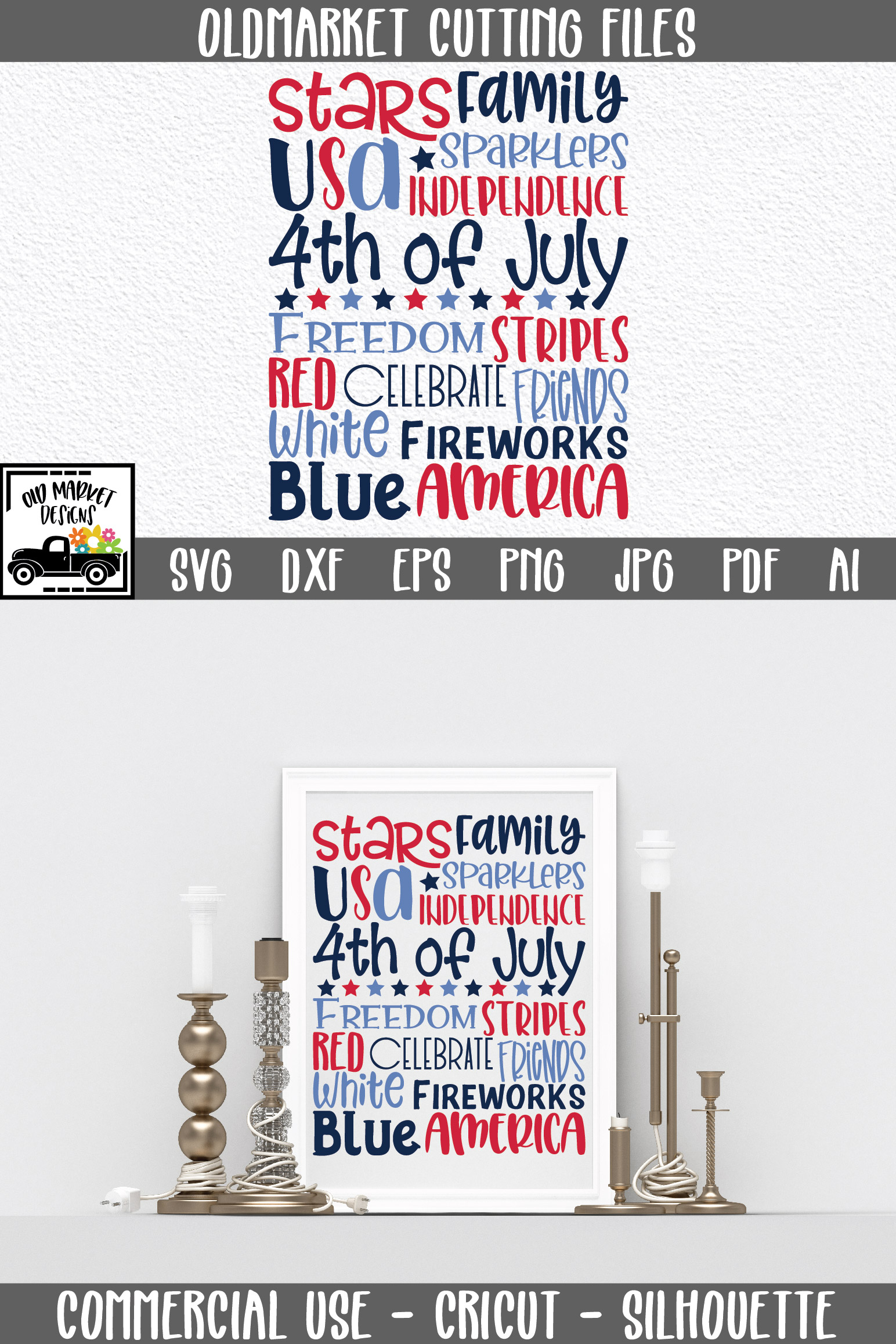 4th of July Subway Art SVG Cut File example image 8