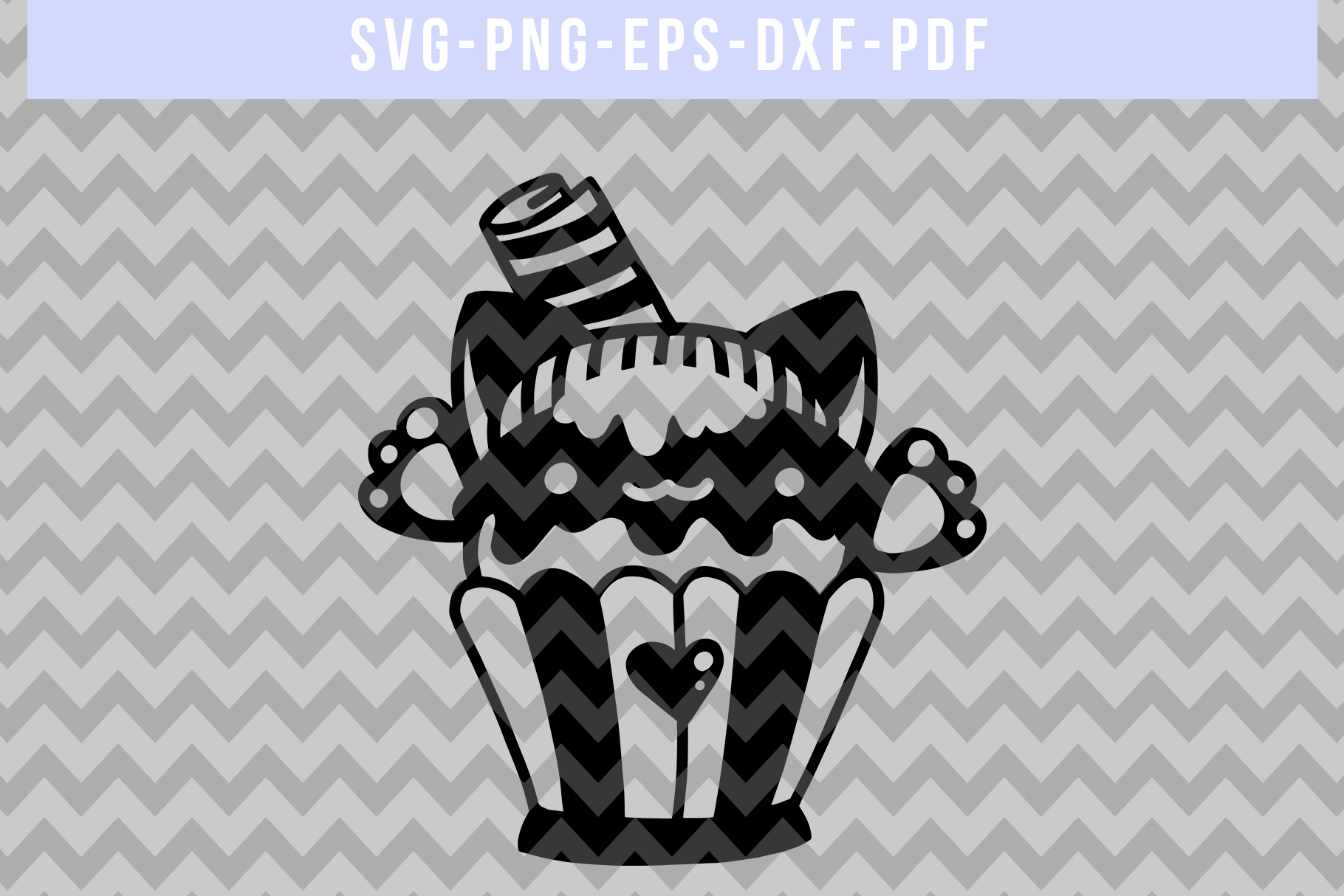 Cat Cupcake Papercut Template, Baking Clipart Scrapbook, PDF example image 4