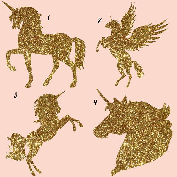 Gold glitter and Galaxy Unicorns Clipart example image 2
