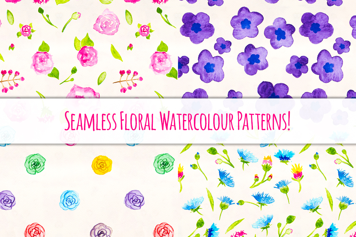 Seemless Floral Watercolor Patterns Bundle example image 1