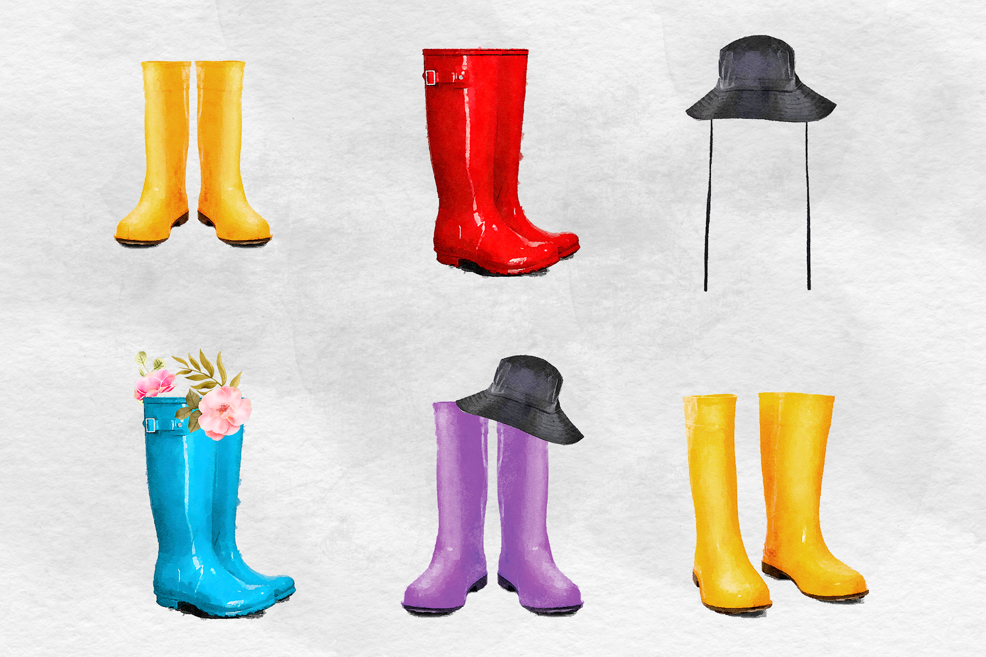 Watercolor Rain Boots Clipart, Wellington Boots example image 2