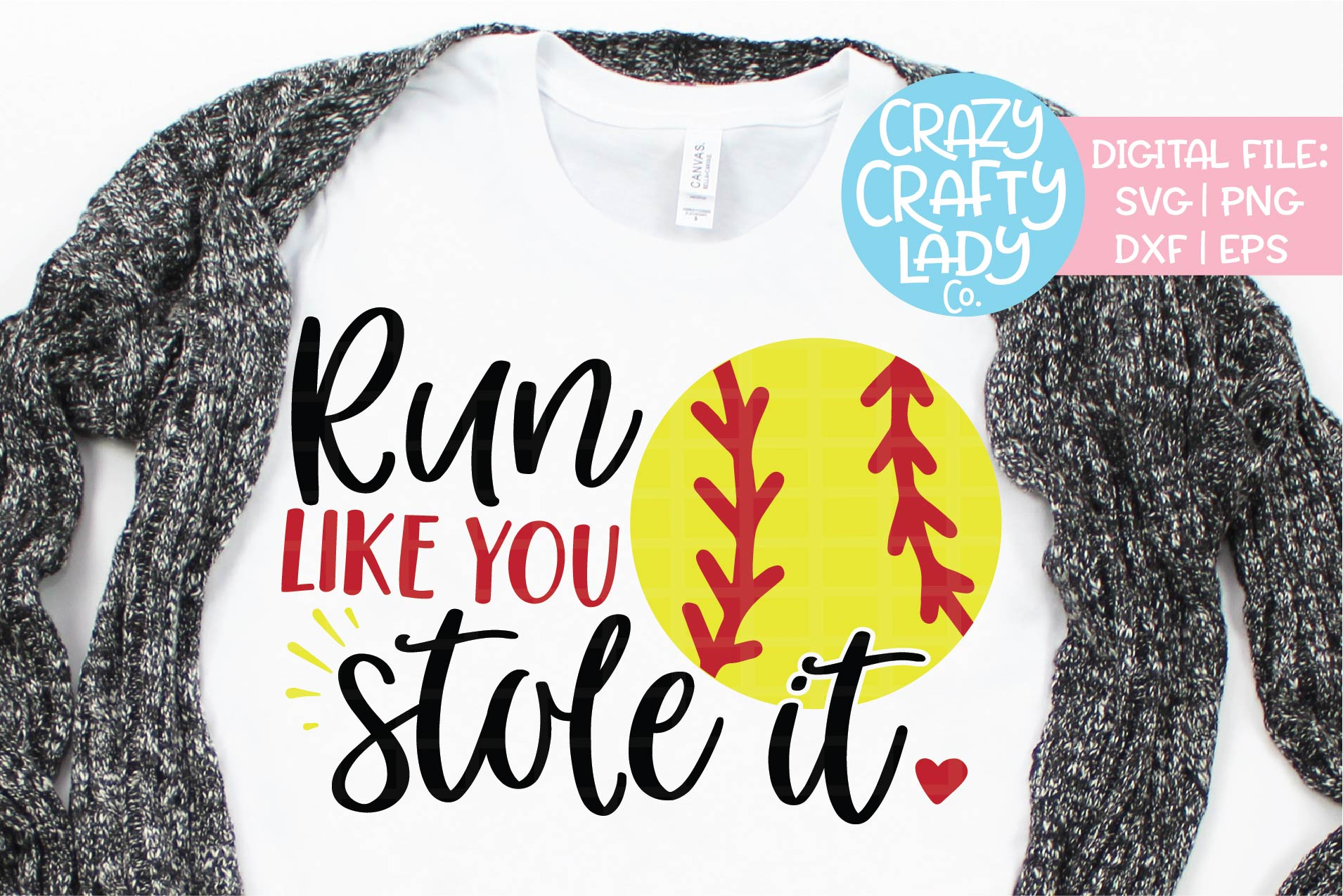 Run Like You Stole It Softball SVG DXF EPS PNG Cut File example image 1