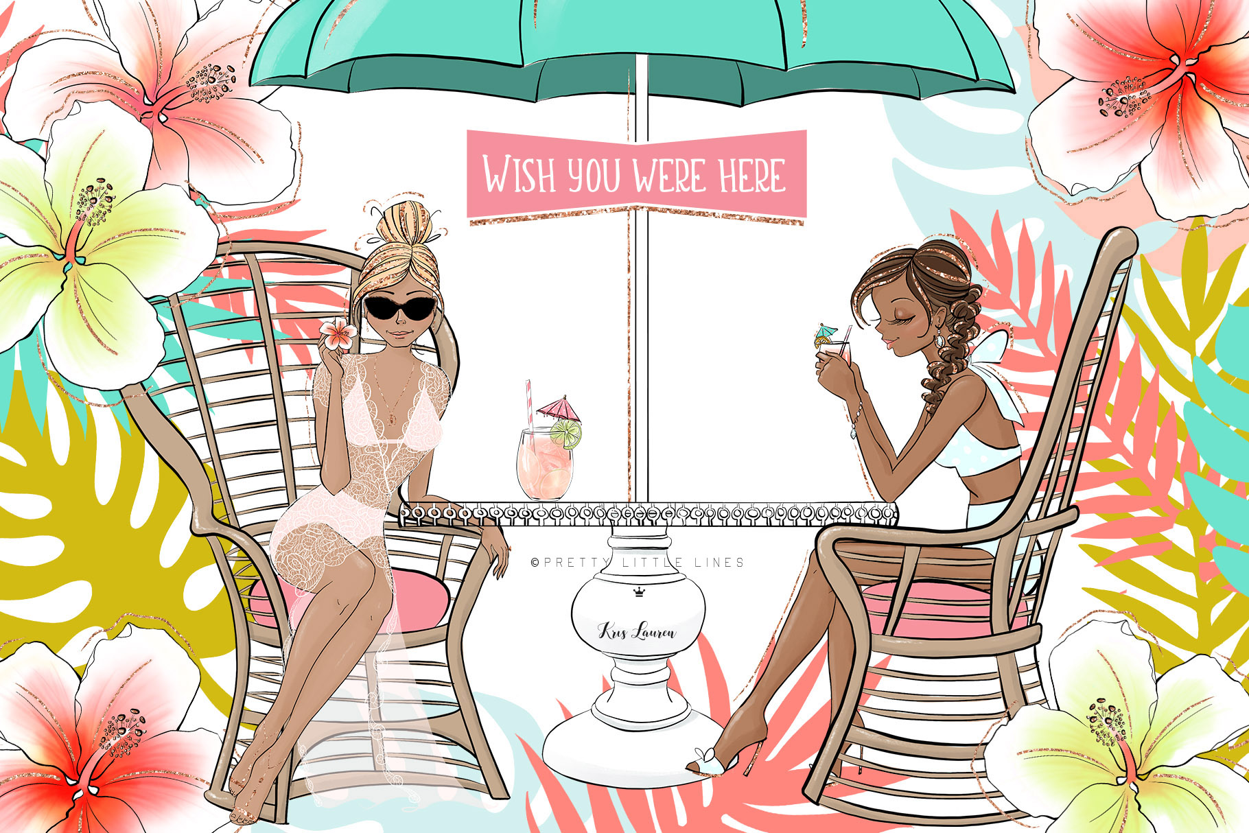 Tropical Summer Girls Clip Art example image 8