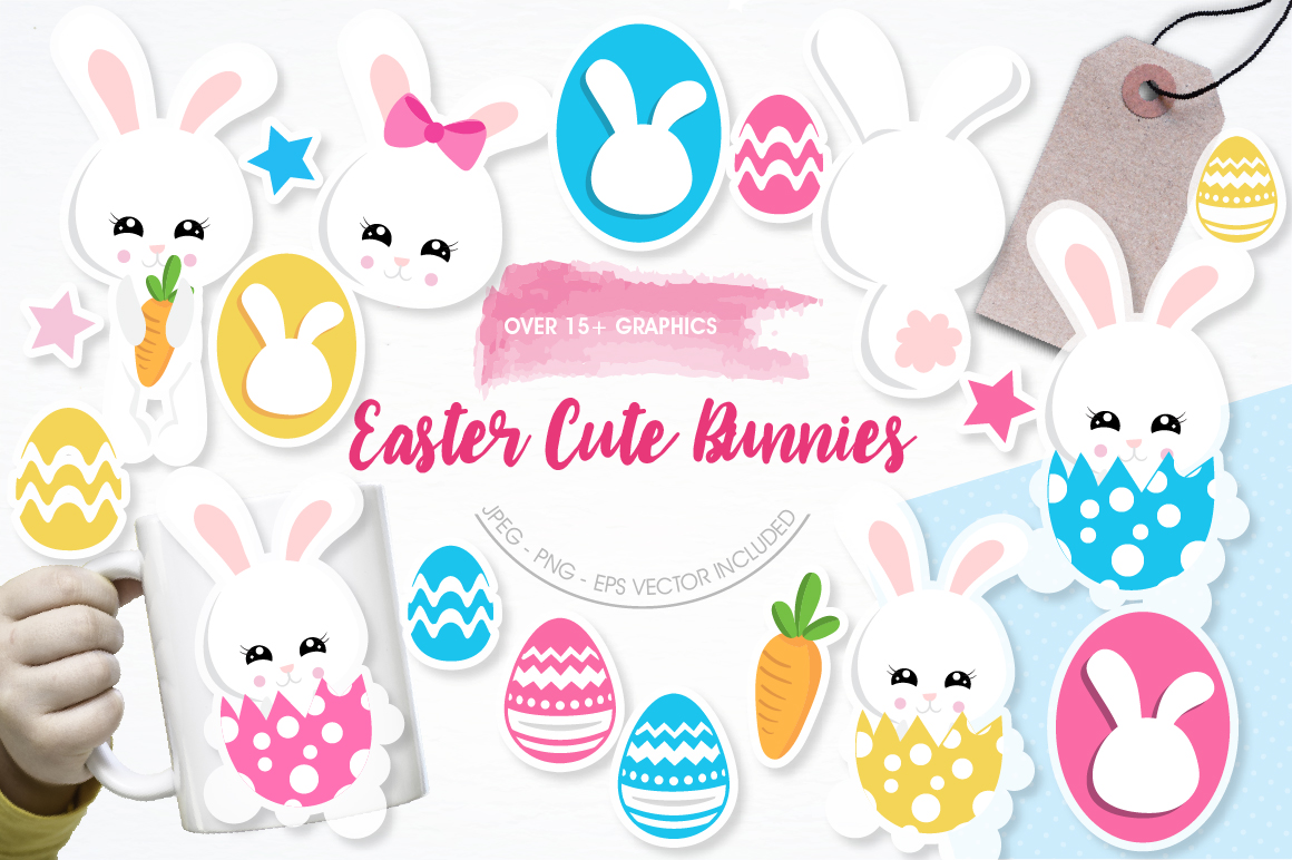 Easter cute bunnies graphics and illustrations example image 1