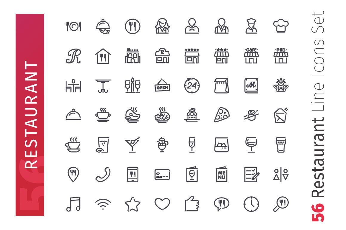 Restaurant Line Icons Set example image 2