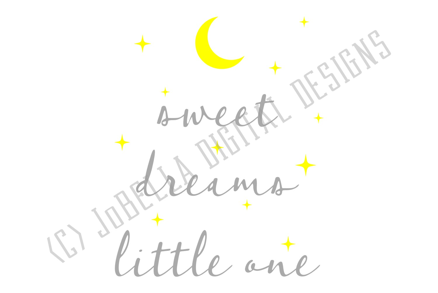 Baby SVG and Printable- Sweet Dreams Little One Moon & Stars example image 3