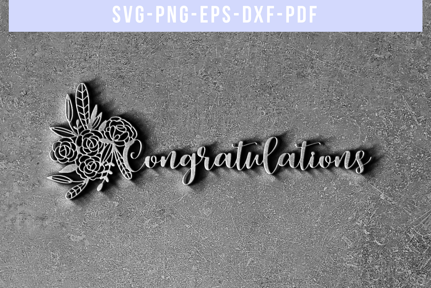 Congratulations Papercut Template, Wedding Cut File, SVG PDF example image 5