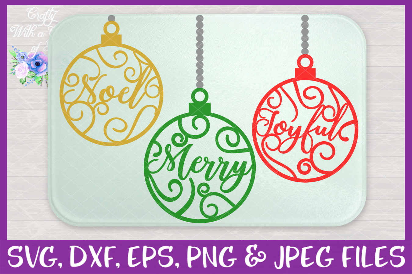 Christmas Word Ornaments SVG Christmas Flourish Baubles example image 3