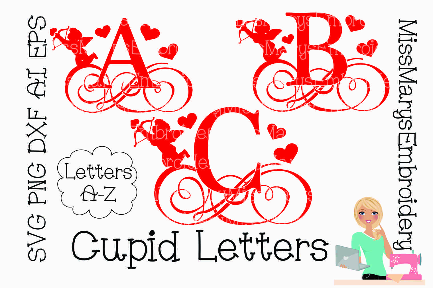 Cupid Swirl Letters SVG Cutting File PNG DXF AI EPS example image 1