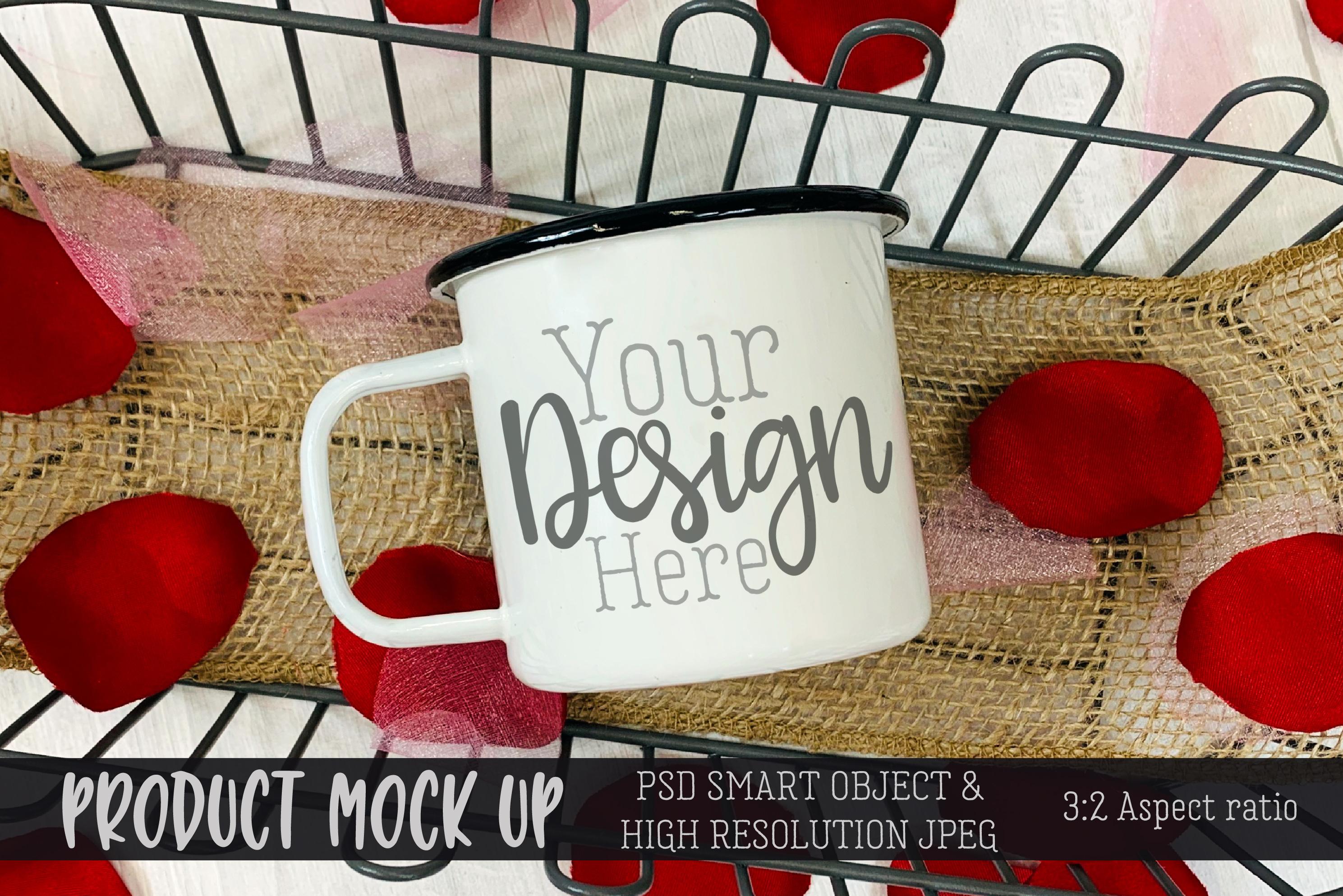 Valentine mug Burlap Craft MOCKUP | PSD & JPEG example image 1