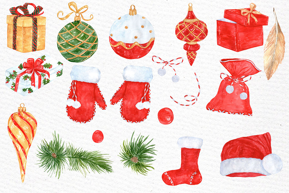 Watercolor Christmas clipart example image 2
