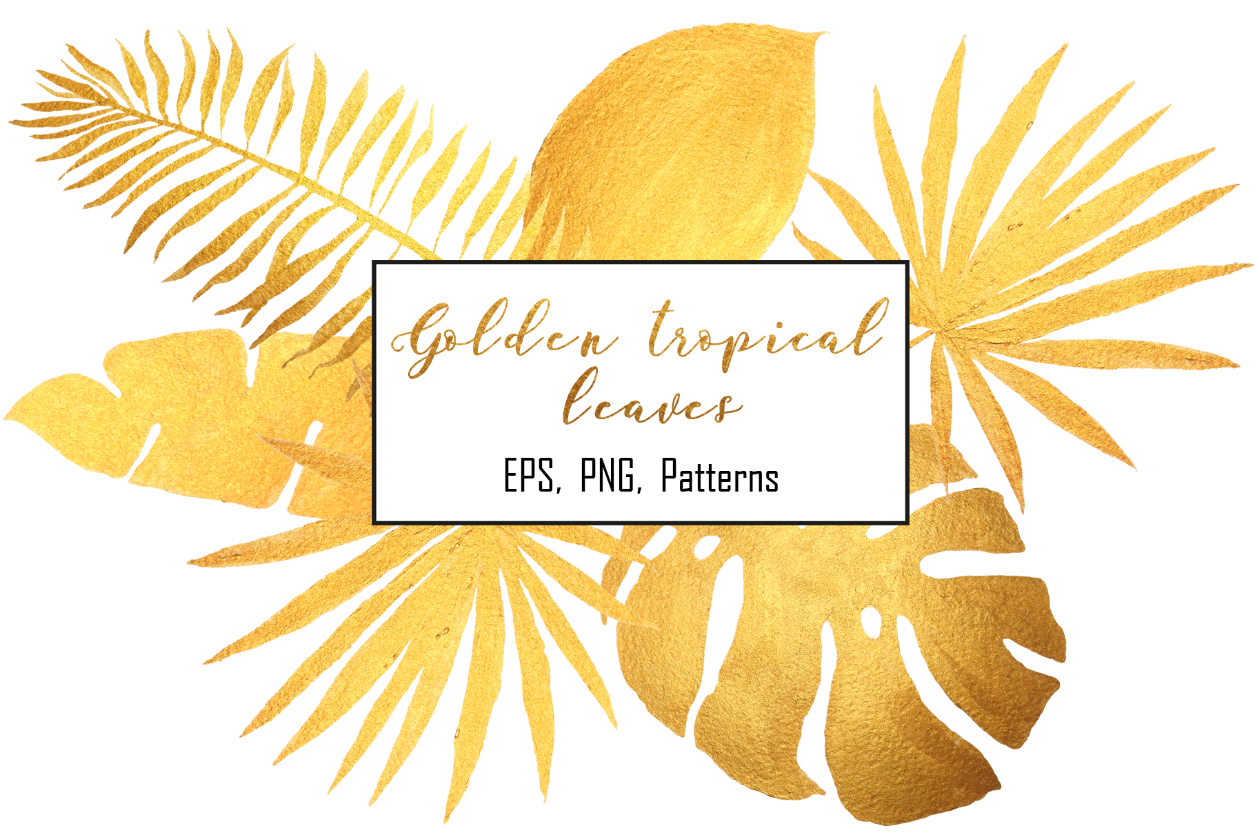 Golden tropical leaves & pattern example image 1