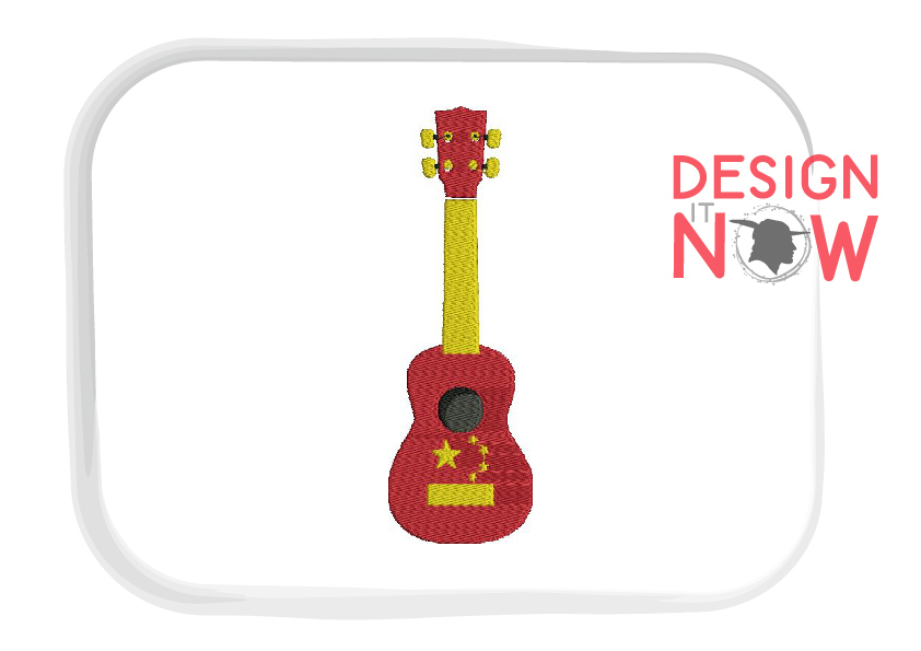 China Flag Embroidery Design, Map Embroidery Design, Guitar example image 2