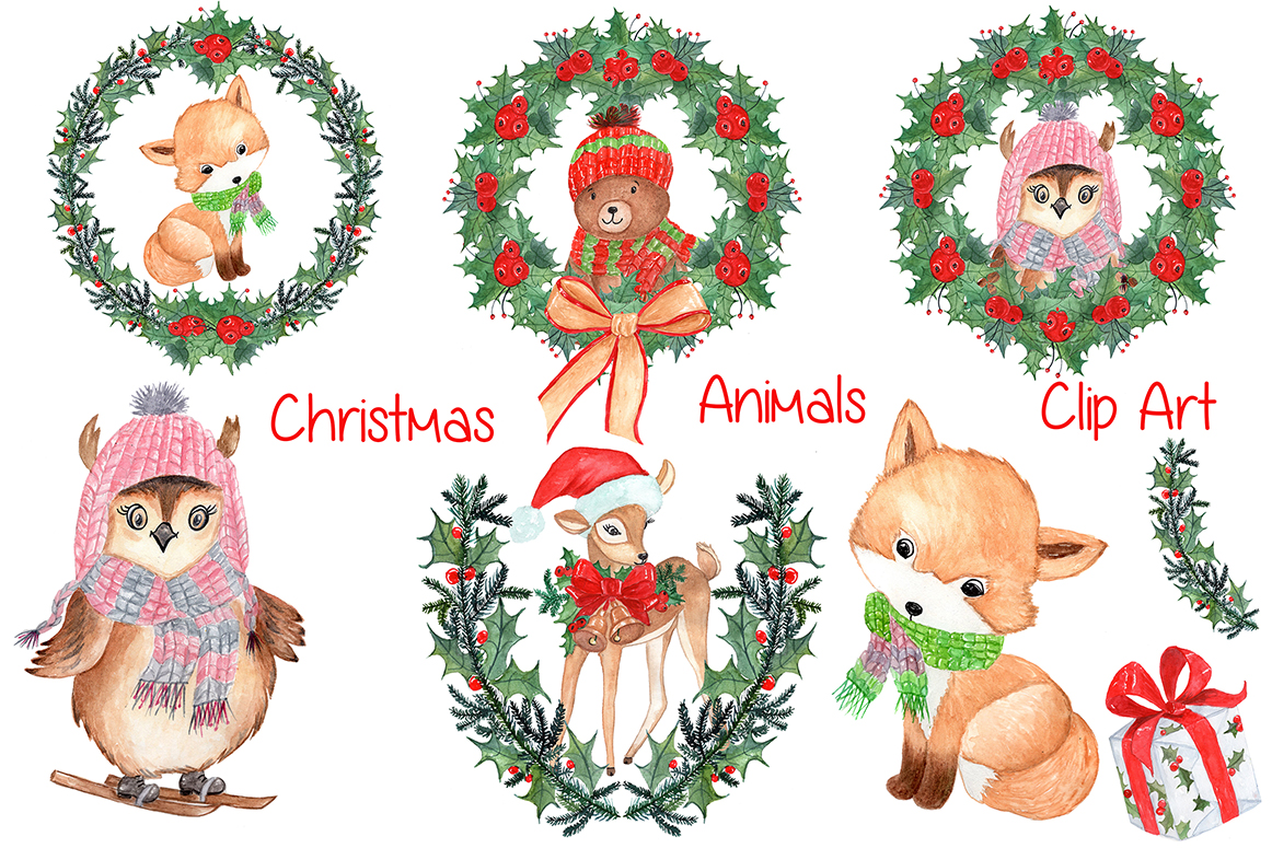 Watercolor Christmas kids clipart example image 1