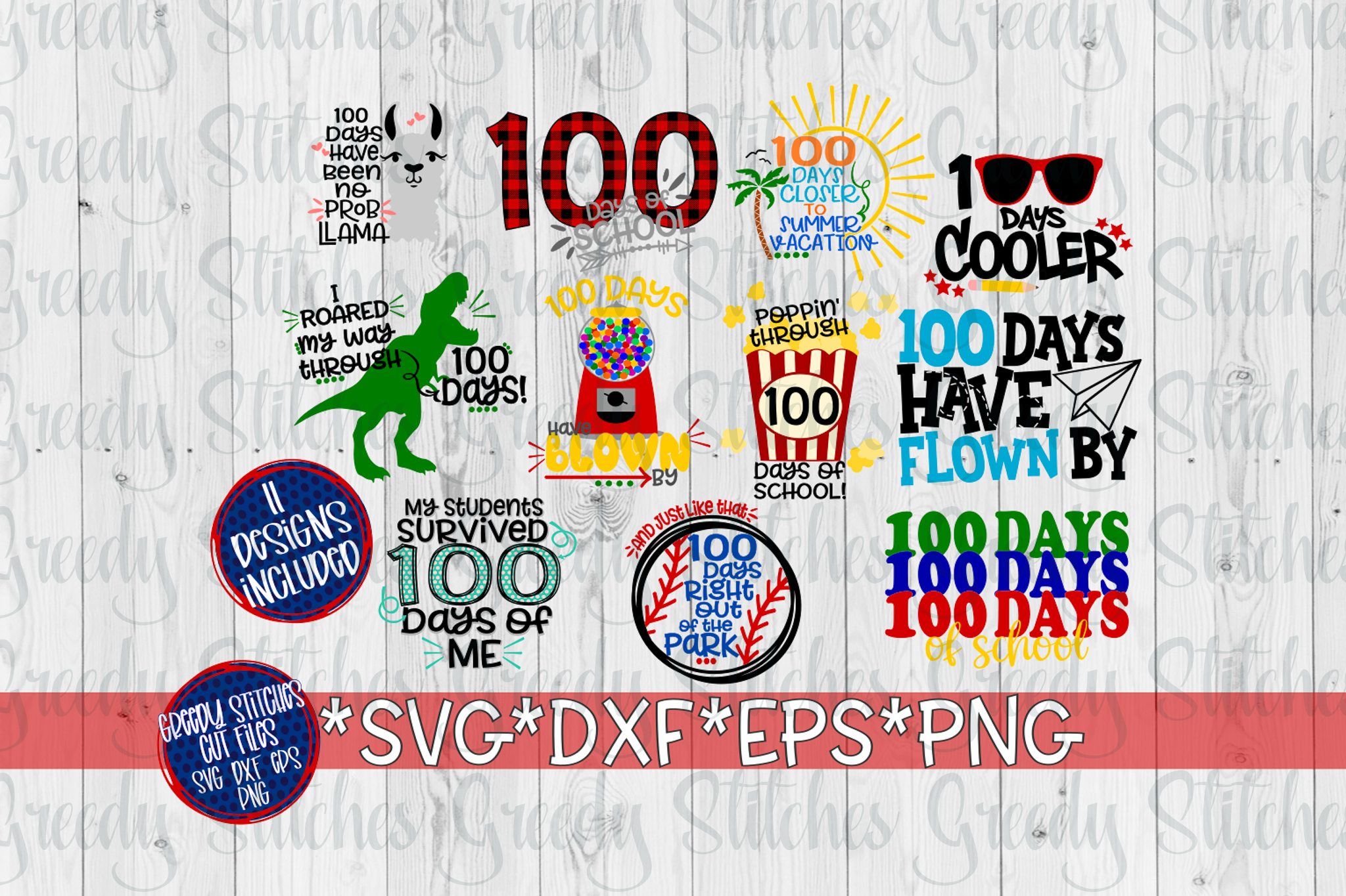 100 Days Of School Bundle SVG, DXF, EPS, PNG. example image 4
