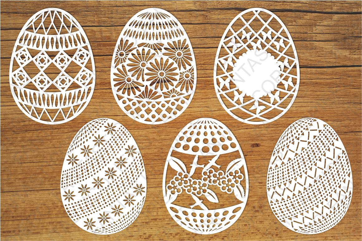 Easter Eggs set 2 SVG files for Silhouette and Cricut. example image 1