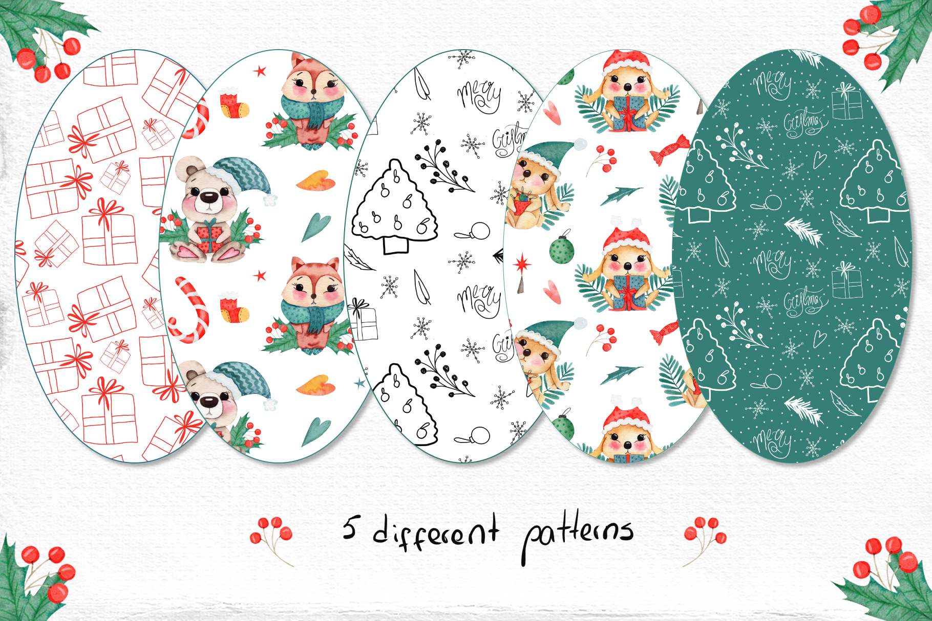Watercolor Winter Friends example image 9