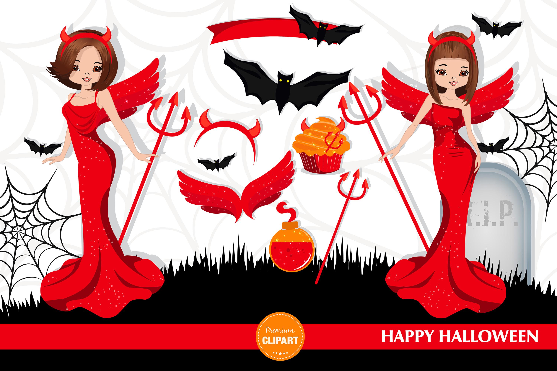 Halloween girl, Halloween illustration, Halloween devil girl example image 2