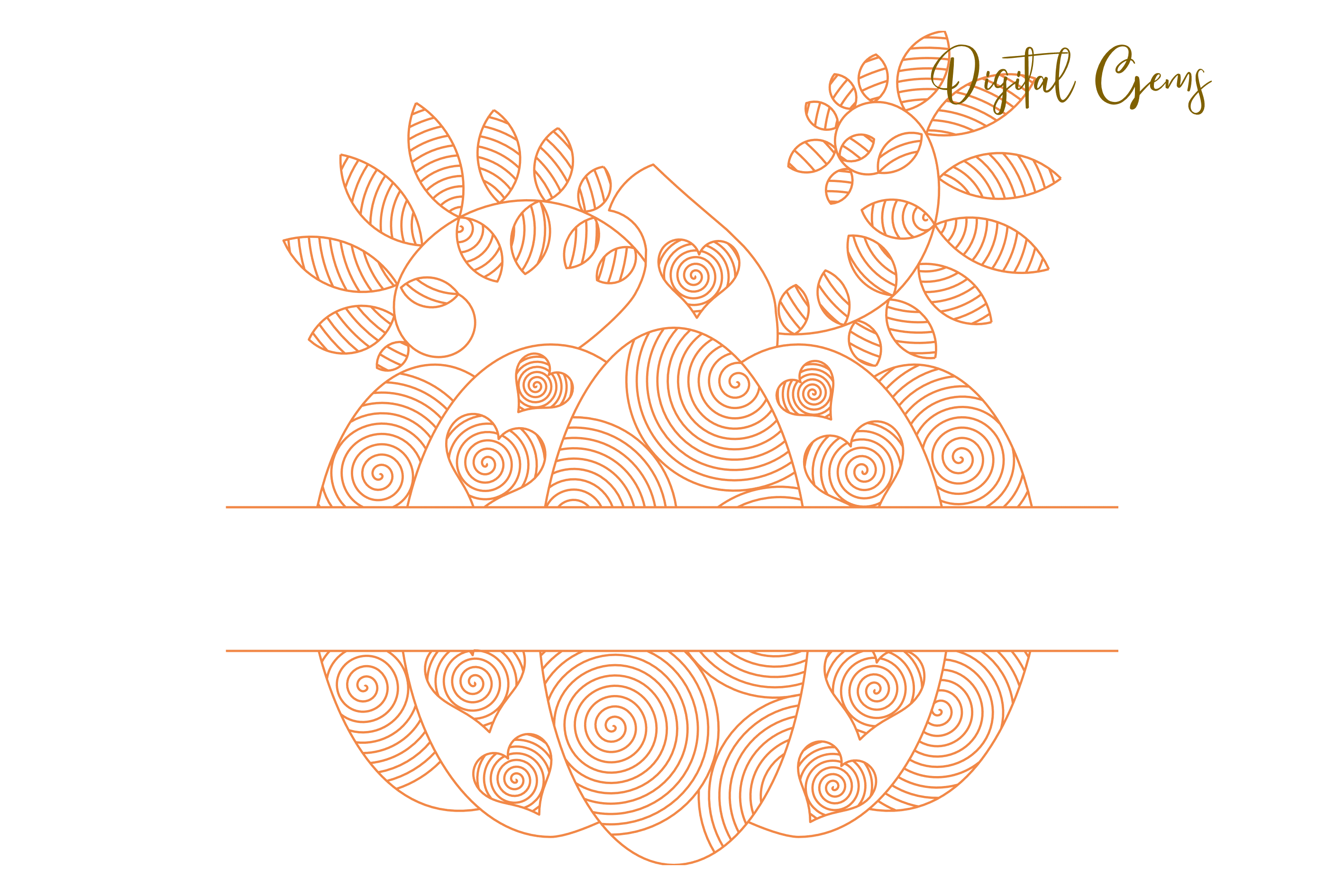 Pumpkin, single line sketch files / foil quill files example image 5