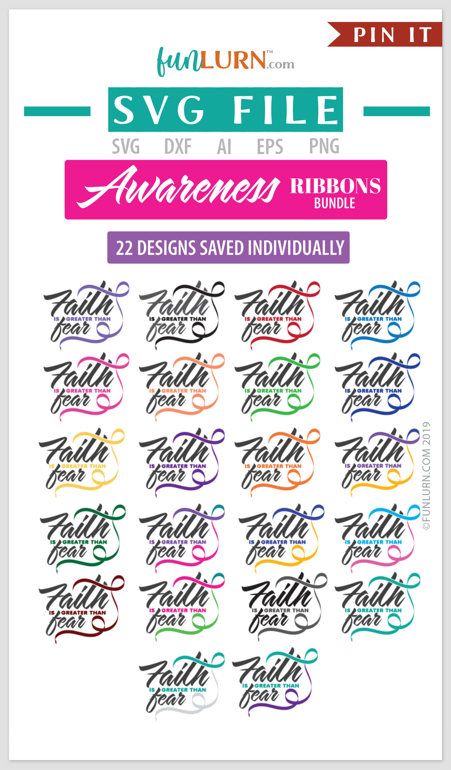 Faith is Greater Than Fear Ribbon Awareness SVG Bundle example image 2