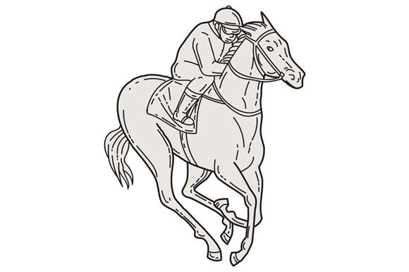 Jockey Riding Thoroughbred Horse Mono Line example image 1