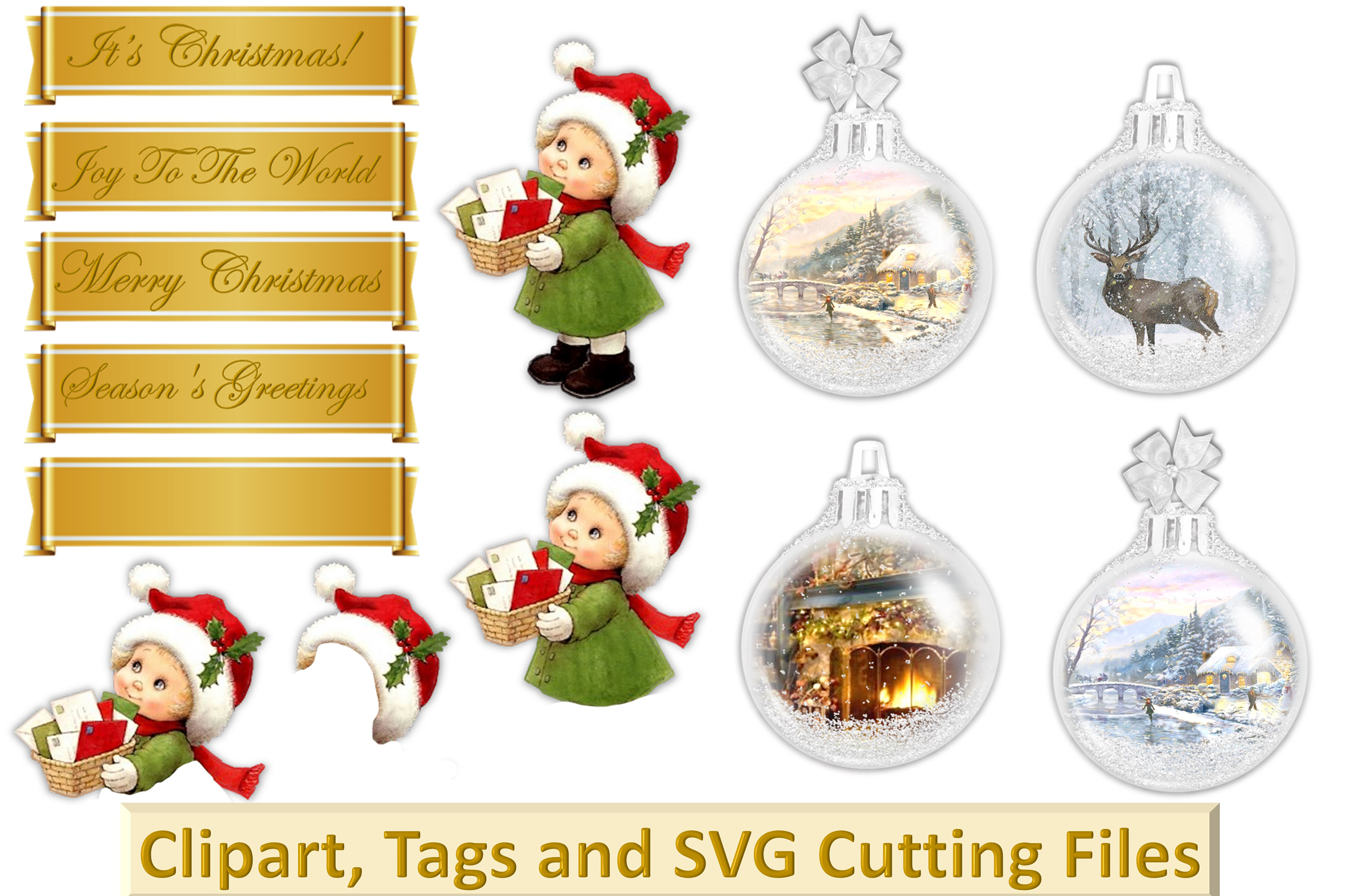 Christmas Clipart Bundle Commercial Use with FREE card kit example image 5
