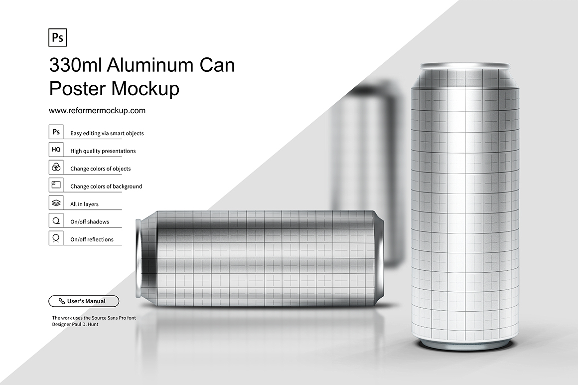 330ml Aluminum Can Poster Mockup example image 5