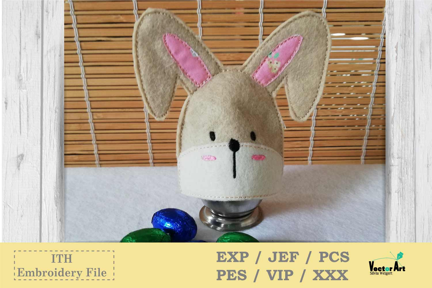 ITH - Feltie Bunny - Egg Warmer - Embroidery File example image 2