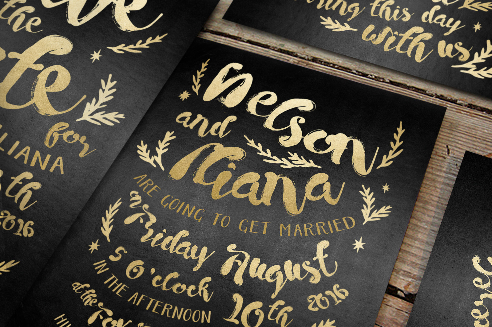 Black & Gold Hipster Wedding Invitation Suite example image 4