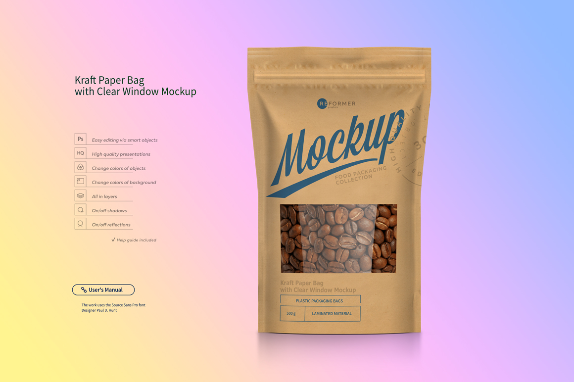 Kraft Paper Bag Stand up Pouch Doypack with Clear Window Mockup example image 3