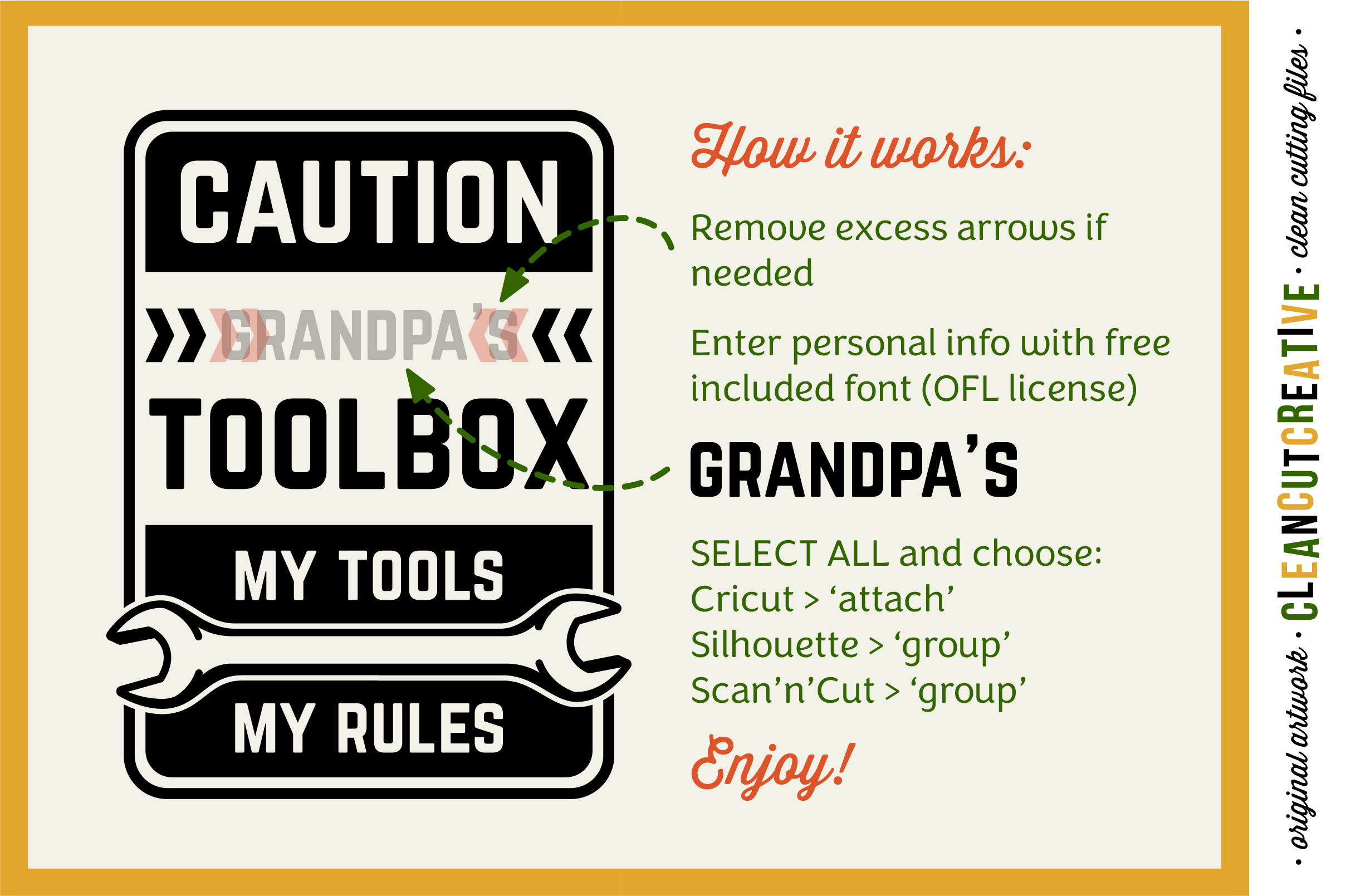 Mens Toolbox custom name decal - My Tools My Rules SVG file example image 5