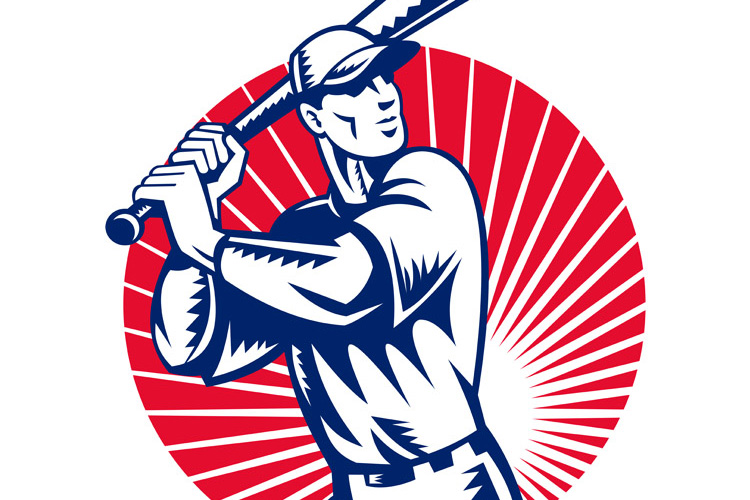 Baseball player with bat batting example image 1