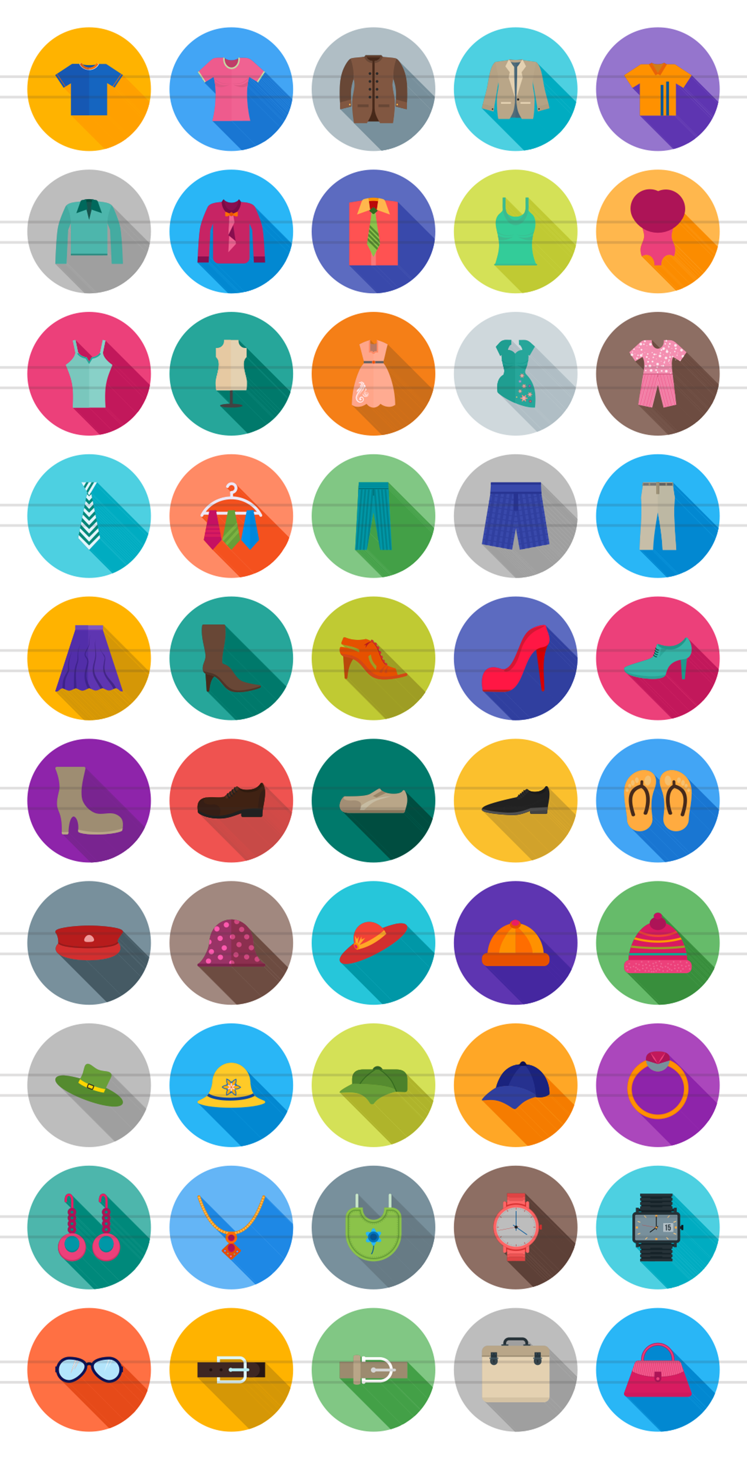 50 Clothes & Fashion Flat Long Shadow Icons example image 2