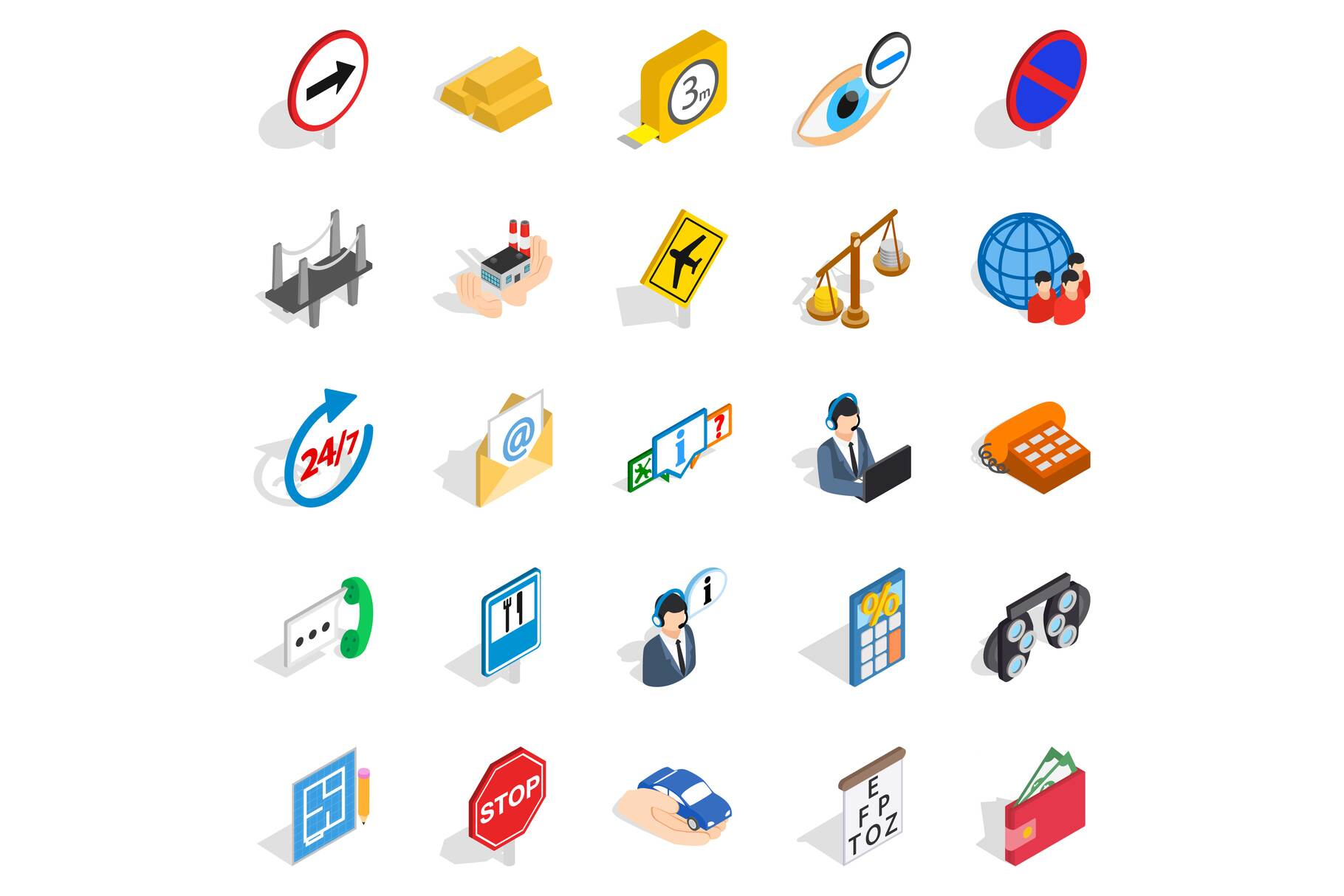 Look after icons set, isometric style example image 1